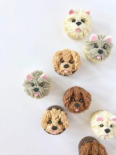 Puppy Cupcakes, Puppy Cake, Animal Cupcakes, Flower Cupcakes, Puppy Birthday Cakes, Puppy Birthday Parties, Dog Birthday, Puppy Party, Cupcake Piping