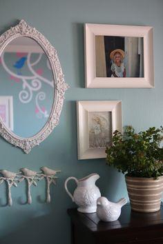 Laura Ashley horno cáscara Candy Stripe vajilla pequeña casa suecia cáscara azul