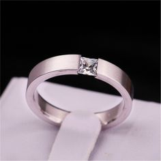 1PC Women Lady 4mm Stainless Steel Solid Zircon Crystal Rhinestone Engagement Wedding Charm Rings Size 6/7/8/9/10/11