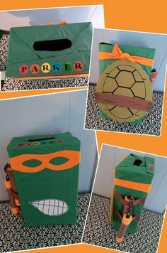ninja turtle valentine's day box for a boy .... Made from a shoebox, green tissue paper & foam.... The orange mask unties in the back to open the box and the valentines can be put in through the hole in the top :)