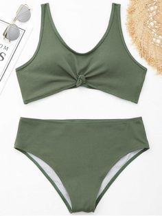 85d6089c29acd Knotted Ribbed Plus Size Bikini