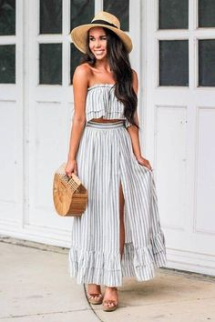 Piece outfits, two piece outfit, two piece dress, boho outfits, s Summer Fashion Trends, Spring Summer Fashion, Spring Outfits, Summer Ootd, Holiday Outfits, Preppy Outfits, Cool Outfits, Fashion Outfits, Womens Fashion