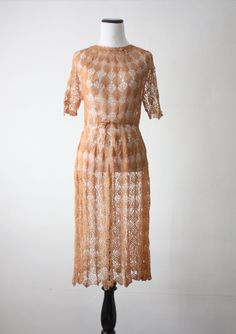 1920's knit dress - honey crochet dress.