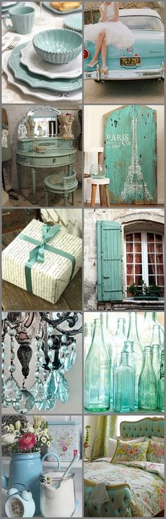 Awesome bundle of vintage aqua inspiration. This is my favorite color. Like ever!
