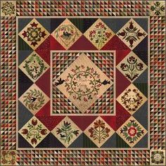 """Words To Live By Block of the Month - """"The Quilted Crow Quilt Shop, folk art quilt fabric, quilt patterns, quilt kits, quilt blocks Hand Applique, Wool Applique, Applique Patterns, Applique Quilts, Quilt Patterns, Wool Embroidery, Medallion Quilt, Primitive Gatherings, Sampler Quilts"""