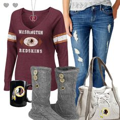 Washington Redskins Fashion - Cozy Redskins Sunday (sundays are for football outfit) Redskins Gear, Redskins Baby, Redskins Football, Football Girls, Football Outfits, Football Fever, Football Team, Fall Outfits, Cute Outfits