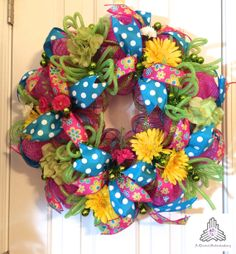 Spring Polka Dot Deco Mesh Wreath by AQuaintHaberdashery on Etsy, $80.00