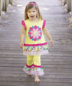 Loving this Lime Green Floral Ruffle Top & Pants - Infant, Toddler & Girls on #zulily! #zulilyfinds