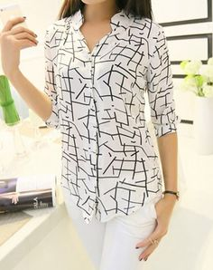 New women's elegant long-sleeve print chiffon fashion slim blouses - tanga Cheap Blouses, Cute Blouses, Blouses For Women, Shirt Blouses, Tee Shirts, Print Chiffon, Chiffon Shirt, Casual Tops For Women, White Fashion