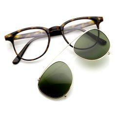 Dapper Vintage Inspired Indie Clear Lens Wayfarer Clip On Sunglasses 9169