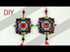 ▶ Macramé Cross-shaped Earrings Tutorial -