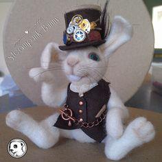 Meet steampunk bunny #handmade #needlefelted #feltvisual #steampunk by Irene-FeltVisual, via Flickr