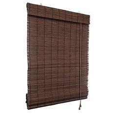 Klemmfix Bambusrollo Raffrollo 100 x 160cm in dunkelbraun - ohne Bohren - VICTORIA M
