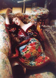 """""""Bohemian Rhapsody"""": Karen Elson photographed by Ellen Von Unwerth for Vogue US, November 1997"""