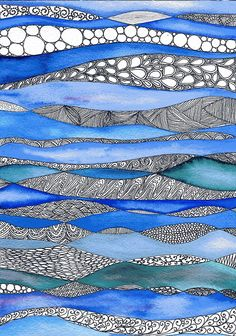 15 Feb 2020 - In the deep - Original Watercolour zentangle painting on paper Zentangle Drawings, Zentangle Patterns, Art Drawings, Zentangles, Tangle Art, Art Journal Inspiration, Creative Inspiration, Watercolor And Ink, Watercolour Painting