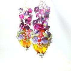 Floral Pumpkin Earrings Fall Earrings by GlassRiverJewelry on Etsy