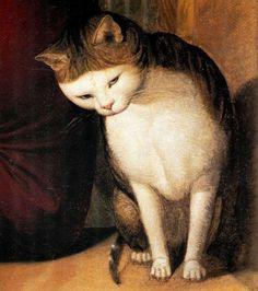 "Johann Friedrich Overbeck (1789-1869) - Detail of the cat from ""Portrait of the painter Franz Pforr"", 1810"