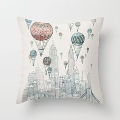 Voyages Over New York Throw Pillow by David Fleck - $20.00