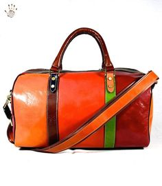 Leather Travel Bag - Bacco - Tuscan Leather, Multicolor Genuine leather Travel Bag 100% made in italy