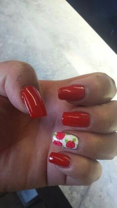 Red nails and vintage FLORAL . STUNNING..Done at art nails2 in tulsa ok