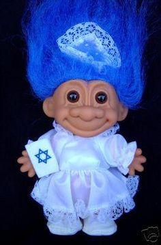Jewish Bat Mitzvah Girl Troll Doll with Blue Hair