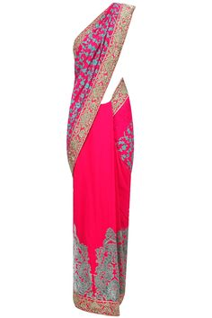 Varun Bahl presents Fuchsia damask embroidered sari with blue blouse piece available only at Pernia's Pop-Up Shop.