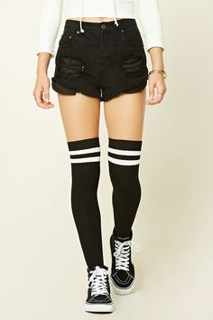 Over-The-Knee Varsity Socks - Women - New Arrivals - 2000195871 - Forever 21 EU English