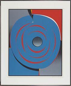 GUNNAR S. GUNDERSEN FORDE 1921 - BÆRUM 1983  Blue circle composition  Fargeserigrafi, 66x53 cm  Signed lower right: Gunnar S.