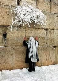 Prayer ( in the snow at the Wailing Wall in Jerusalem )