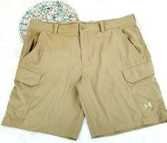 Under Armour Mens Cargo Golf Shorts Size 42 Beige Khaki Loose Fit Heat Gear o767 #Underarmour #Shorts