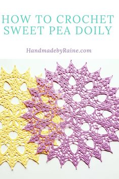 How to crochet sweet pea doily - HandmadebyRaine Crochet Mask, Thread Crochet, Crochet Crafts, Crochet Stitches, Crochet Projects, Crochet Ornaments, Crochet Snowflakes, Free Crochet Doily Patterns, Crochet Doilies