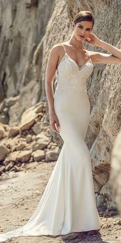 mikaella spring 2017 bridal spagetti strap sweetheat neck heavily embroidered bodice elegant fit fand flare wedding dress sweep train (2102) mv -- Mikaella Bridal Spring 2017 Wedding Dresses
