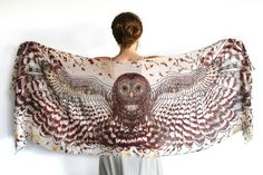 This unique bohemian owl wings, bird feathers shawl scarf features: - Hand-painted and then digitally printed Art of a DAY Owl - Light Feather this is a