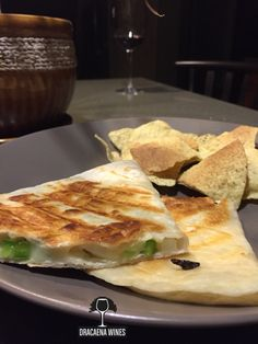 Grilled cheese quesadilla with peppers and onions