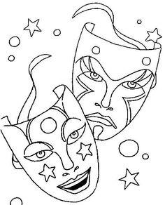 comedy tragedy mask as mardi gras symbol coloring printable