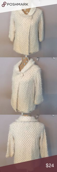 "Cynthia Rowley✨Eyelash Cardigan Soft waffle weave knit. Snap closure at neck. 3/4 sleeve. 20 1/2"" length. Cynthia Rowley Sweaters Cardigans"