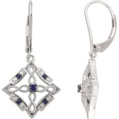 Sterling Silver, Blue Sapphire & Diamond Lever Back Earrings. Available at Westmount Jewellers. Edmonton, Alberta. Contact: pinterest@westmountjewellers.com