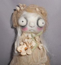 Wendy the witch  Ooak  needle felted art doll by papermoongallery, $79.00
