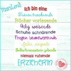 Embroidery file & saying educator & 2 parts each by ✿ MariLena Stoffz . Kindergarten Portfolio, Motivational Stories, Learn German, Embroidery Files, Floral Embroidery, Hand Embroidery, Crafty Projects, Beautiful Words, Encouragement