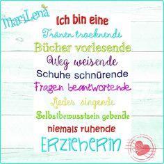 Stickdatei  ♥ Spruch Erzieherin ♥ 2 Teile je 13x18 von ✿   MariLena Stoffzaubereien   ✿ auf DaWanda.com