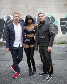 Diplo (wearing Future Disc Blaze Lite), Dominique Young Unique (wearing the Sky Hi Wedge) and DJ Fresh (wearing the Basket Classic Canvas) on the set of the music video Earthquake #PUMA #earthquake #diplo #djfresh #dominiqueyoungunique #music #skywedge #disc #basket #sneakers #shoes