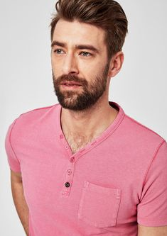 Buy Henley T-shirt with a garment washed finish It Is Finished, Polo, Mens Tops, T Shirt, Stuff To Buy, Shopping, Fashion, Polos, Tee