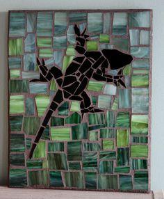 Lizard  Gecko Stained glass mosaic Panel by RampantGoatArtistry, $25.00