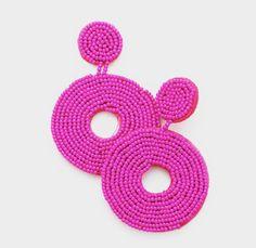 Diy Clay Earrings, Bead Earrings, Statement Earrings, Crochet Earrings, Seed Bead Jewelry, Seed Beads, Beaded Jewelry, Heart Shaped Earrings, Simple Necklace