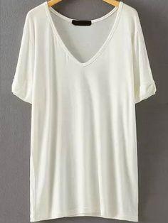 V Neck Loose White T-shirt