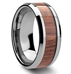 King Will 8mm Tungsten Ring High Polished Koa Wood Inlay Mens and Womens Wedding Band ** Want additional info? Click on the image. (This is an affiliate link) #MenWeddingRings