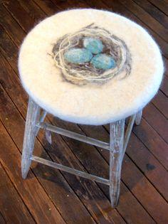 Hand felted vintage stool Felt Cushion, Felt Pillow, Upholstered Chairs, Chair Cushions, Nuno Felting, Needle Felting, Vintage Stool, Provence Style, Furniture Repair