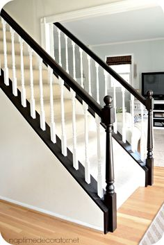 57 trendy remodel stairs staircase makeover gel stains – Home Renovation Stair Banister, Banisters, Black Banister, Stair Risers, Banister Remodel, Stair Renovation, Painted Staircases, Painted Stair Railings, Painted Stairs