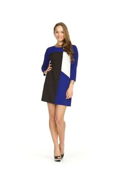 Papillon - Retro Color Block Dress in Dresses