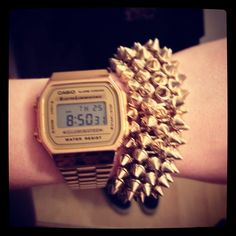 Studded gold #casio #studs #watches #digital #wearing #wiwt #gold